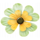 Oh Lucky Day- Yellow & Light Teal Clover Flower