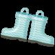 Rain, Rain- Blue Chevron Rainboots