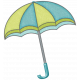 Rain, Rain- Green Blue Umbrella
