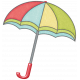 Rain, Rain- Red Blue Green Yellow Umbrella