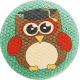 School Fun- Fabric Button- Owl 05