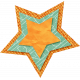 School Fun- Orange Burlap Star