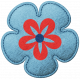 Challenged Felt Flower- Blue & Red