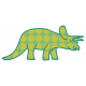 Dinosaurs Sticker- Triceratops- Green & Polka Dot