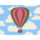 Hot Air Balloon- Balloon Journal Card- Pink & Green
