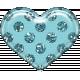 Plastic Glitter Heart- Aqua