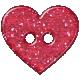 Pink Plastic Glitter Heart Button