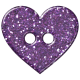 Purple Glitter Heart Plastic Button