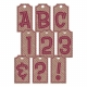 Pink Glitter Stripe Chipboard Tag Alpha