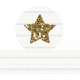 Glitter Star Tab- Gold & White