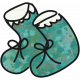 Tiny, But Mighty- Teal Baby Booties Doodle