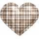 Be Mine- Brown Plaid Puffy Heart