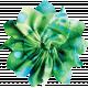 Blue Green Fabric Flower