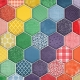 Quilted With Love- Modern Rainbow Quilted Hexagon Fabric Paper