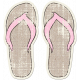 Tropics Sticker Flip Flops Tan