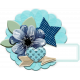 Aqua & Navy Circle Cluster Chipboard & Label 01