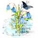 Aqua Navy Blue Watercolor Botanical Blendable Transfer