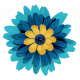 Aqua Navy Blue Flower 2