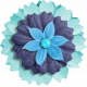 Aqua Navy Blue Flower 3
