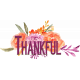 Purple Orange Thankful Word Art on Watercolor Flowers