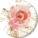 Pink and Gold Watercolor Rose Flair