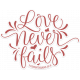 Love Never Fails Word Art Sticker