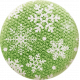 Sweater Weather- Fabric Button- Green With Snowflakes