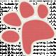Furry Friends- Kitty- Red Paw Print Sticker