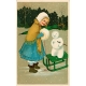 Vintage New Years Cards- Sled (no words)