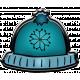 Winter Puffy Sticker Blue Snowflake Hat