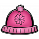 Winter Puffy Sticker Pink Snowflake Hat