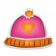 Winter White Puffy Sticker Pink And Orange Heart Hat