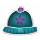 Winter White Puffy Sticker Blue and Purple Star Hat