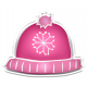 Winter White Puffy Sticker Pink Snowflake Hat