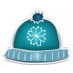 Winter White Puffy Sticker Blue Snowflake Hat