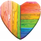 Large Wooden Heart- Broken, Faded, Peeling Rainbow Paint