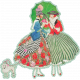 Spring Day Collab- May Flowers Ladies and Parasol Green Border Sticker