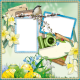 """Easter-Quick page """"Bird with daffodils and easter eggs"""""""